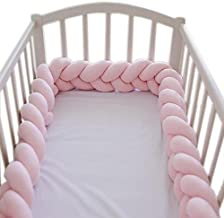 Soft Knot Pillow Decorative Baby Bedding Sheets Braided Crib Bumper Knot Pillow Cushion (Pure Color) (Pink, 78.7 inch)