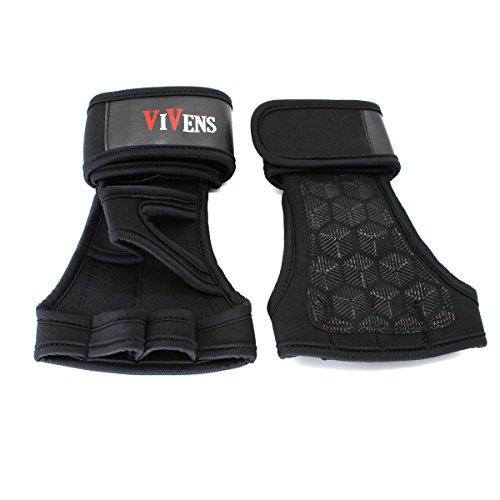 VIVENS Sport-Handschuhe Fitness Handschuhe Training-Handschuhe und Safe Geleinlage Silikon Palm für Crossfit, Freeletics, Calisthenics, Gewichtheben und Turnen (S, schwarz)