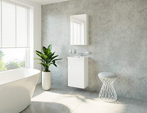 Planetmeubel badmeubelset wastafel + wastafel + spiegelkast gasten badkamer toilet wit