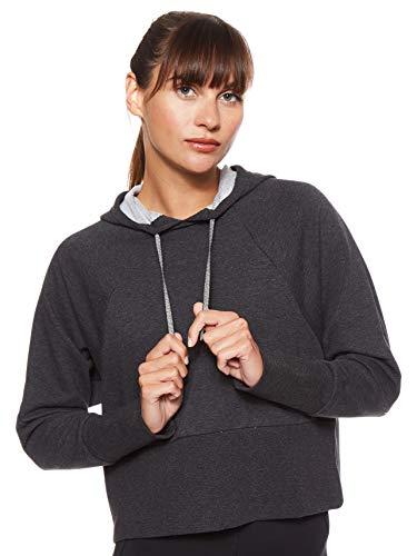 Nike W NK Studio Po Hoodie Versa Damen-Sweatshirt S Schwarz (Black Heather/Black)