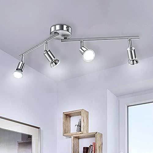 Lámpara de Techo LED 4 Focos, Wowatt Plafón con Focos giratorios y orientables 6000K Blanco Frío 4 x 6W Spot Bombillas GU10 Bajo Consumo 230V 600lm 83Ra IP20 Níquel Mate No Regulable