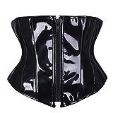 JOYOTER Cintura Corsetto Sottoseno in PVC Nero Allenatore in Vita con Zip Gotica Stringato Steampunk Bustier