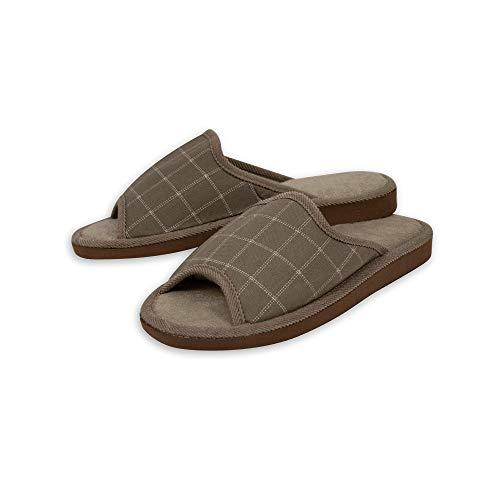 CoboFamily Zapatillas de Estar por Casa Hombre Verano, Zapatillas de Punta Abierta con Suela Goma EVA AD-J2117 Beige 42(Beige, Numeric_42)