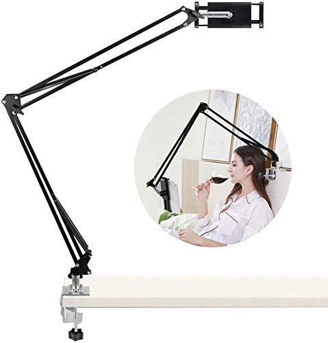 AiFeelife Adjustable Bed Tablet Stand 40 inch Long Arm Metal Universal Rotating Desktop Table Holder Hands Free Cell Phone Bracket for iPad Air Mini 3.5-10.6'' Arm Phone Mount Stand (Black)