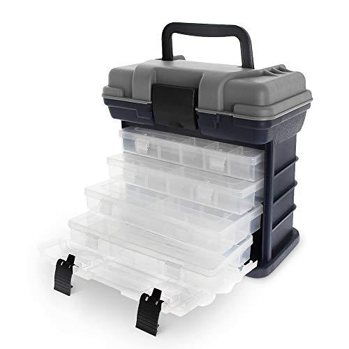Caja de Pesca con 4 Compartimentos Ajustables para Accesorios de Pesca