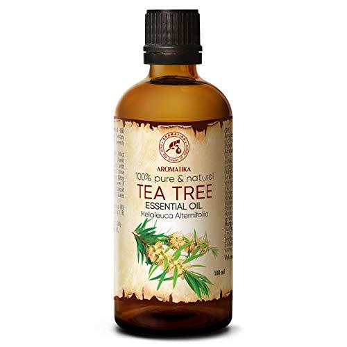 Huile de Arbre À Thé 100ml - Huile Essentielle 100% Naturelle & Pure - Meilleur pour un Bon Sommeil - Soin du Stress - Corps - Bien-Être - Beauté - Massage - Bain - Spa - Aromathérapie - Cosmétique