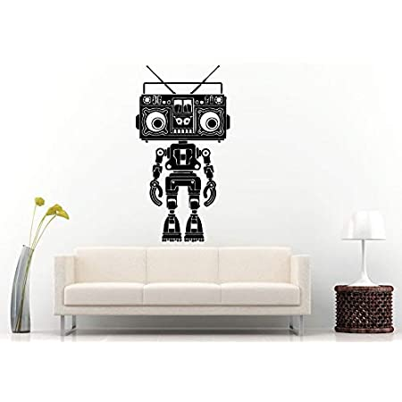 Wall Decals Cute Boom Box Retro Old School Music Player A Track Cassette Tape Radio Robot Speakers Wall Decal Vinyl Sticker Mural Room Decor Made In Usa Fast Delivery Home Kitchen