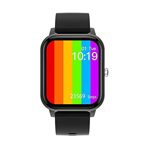 LYB Reloj inteligente para hombre y mujer, IP67, resistente al agua, PPG, llamada Bluetooth, presión arterial, ritmo cardíaco, fitness, deportes, reloj inteligente Pk P8, color negro