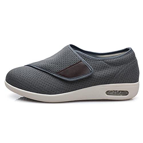 CCSSWW Zapatillas DiabéTicas Ajustables,Zapatos DiabéTicos para Hombre Ajustable-Gris_39,Ajustables para HinchazóN del Pie, Artritis,