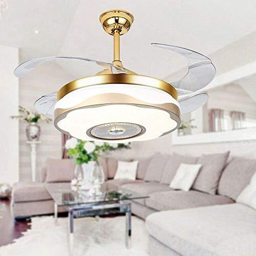 MAMINGBO Ventilador de techo con luz y control remoto 42 '' Luz moderna del ventilador de techo con control remoto, luz inalámbrica Bluetooth Light Light Invisible Chandelier Fan Mute 2-In-1 Design Du
