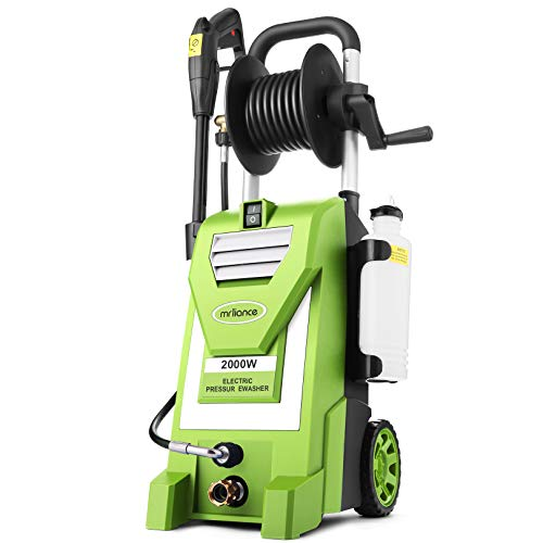 3800PSI Electric Pressure Washer,3.0GPM Electric Power Washer 2000W High Pressure Washer with Hose Reel for Cleaning Cars Houses Driveways Fences Patios Garden (Green)