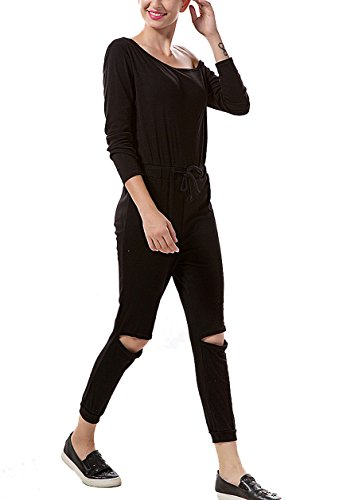 Aro Lora Women's One-shoulder Casual Wear Ripped Sport Jumpsuits Rompers Medium Black
