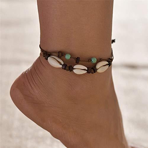 weichuang Tobillera estilo bohemio para mujer, color dorado, cadena de monedas, pulsera de pie multicapa, tobillera de pie en la pierna, tobillera de playa (color metal: 50263)