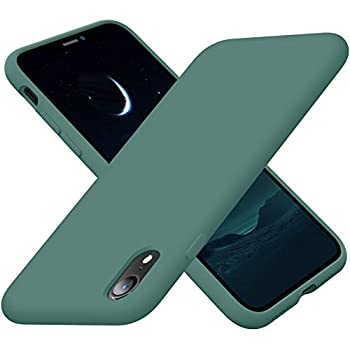 Cordking iPhone XR Cases Silicone Ultra Slim Shockproof Phone Case with [Soft Anti-Scratch Microfiber Lining] 6.1 inch Midnight Green