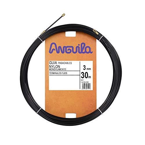 Anguila - Guía pasacables Nylon Monofilamento, 30 m, Diámetro 3mm, Terminales Fijos, Negro