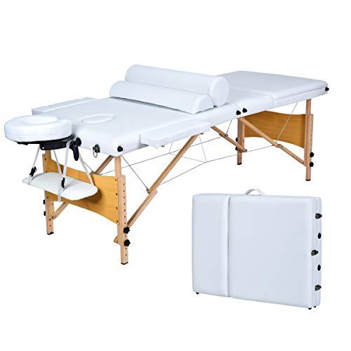 COSTWAY Massageliege klappbar, Massagetisch höhenverstellbar, Massagebett mit Rückenlehne, Kosmetik 3-Zonen-Bett tragbar, Salontisch mit Laken und Nackenrolle (Weiß)