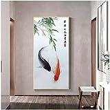 Cuadro de póster, impresiones de hojas de pez koi chino, pintura de feng shui, pintura de paisaje animal, cuadro de arte de pared, decoración moderna del hogar, 70x140cm sin marco