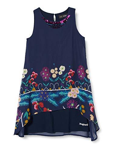 Desigual Mädchen Vest_Juárez Kleid, Blau (Navy 5000), 128 (Herstellergröße:7/8)