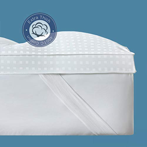 THLAND King Mattress Topper Extra Thick, 400TC Plush Pillow Top Cooling Mattress Cover Cotton with Snow Down Alternative Fill, Breathable, Cloud-Like