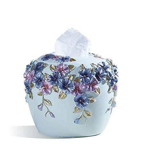 DLY Fashion Continental Creatieve Tissue Boxen reliëf Bloemen Ornamenten Tri-color Circulaire Lade Desktop Opbergdoos Huishoudelijke Goederen Decoratie (18 * 15CM) Vrij