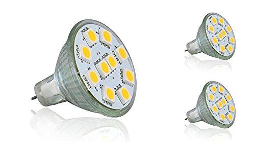 12vmonster Pack von 3warm weiß LED 2,5W MR11GU4Accent Lampe Birne Spot Lampe AC DC 12Volt Halogen Ersatz 5050LED X 10Cluster