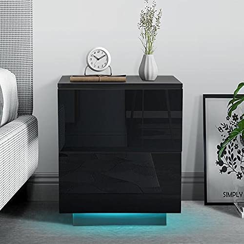 LED Nightstand with 2 Drawer Kansas City Mall Price reduction Modern -Black Type Un - A Bedside