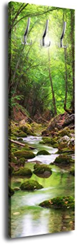 Wandmotiv24 Garderobe mit Design River in The Forest G347 40x125cm Wandgarderobe Bach Bume Grün