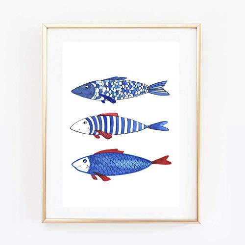 Din A4 Kunstdruck ungerahmt - Fische Fisch Trio Naive Malerei blau Badezimmer Geschenk Druck Poster Bild