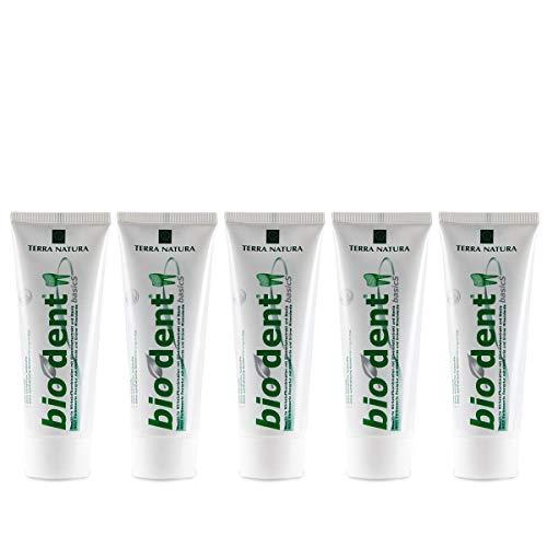 TERRA NATURA Bio Dent BasicS (5x75ml) mit Olivenblattextrakt, Kamille und Stevia, Fluoridfrei, homöopathiverträgliche Bio-Zahnpasta, Kieselerde, Vegan, ohne Konservierungsstoffe, Naturkosmetik