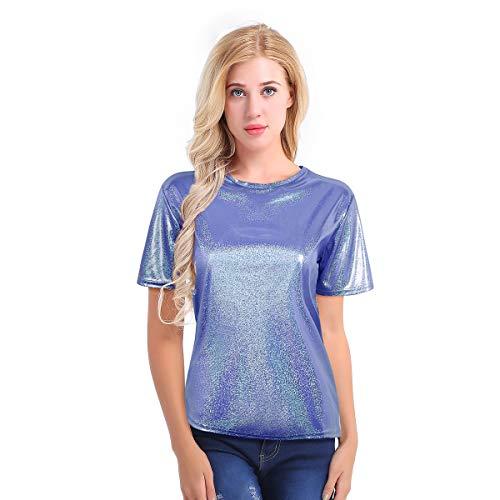 inlzdz Mujer Camiseta Recta con Lúrex Manga Corta Cuello Redondo T-Shirt Top...