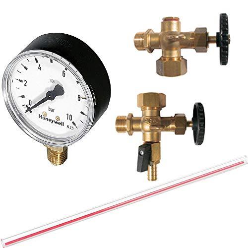 """Wasserstandsanzeiger 1/2\"""" für Windkessel Druckkessel mit Ablaßhahn & Manometer, Länge 1000mm"""