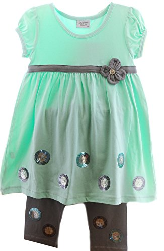 Breeze Girls jurk & legging kinderen zomerjurk 110 set korte mouwen groen grijs jurk leggings
