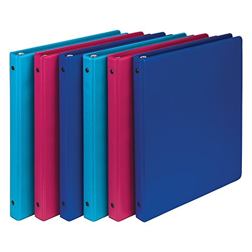 Samsill Fashion Color 3 Ring Storage Binders.5 Inch Round Ring, Assorted Colors May Vary (Blue Coconut, Dragon Fruit, Blueberry), Bulk Binders - 6 Pack (MP21198)