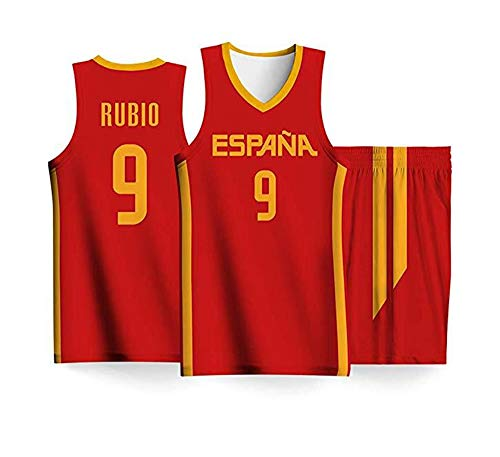 LLYLL Selección española Equipo de Baloncesto Masculino Camiseta Rubio # 9 Camisa roja + pantalón Corto Uniforme de Baloncesto,Rojo,XL:185cm/90~100kg: Amazon.es: Deportes y aire libre