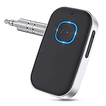 Bluetooth AUX Adapter Wireless Bluetooth 5.0 Receiver for Car with Hands-Free Calls Bluetooth Music Receiver for Headphones/Home Stereo System  Long Battery Life/Double Connection -Silver