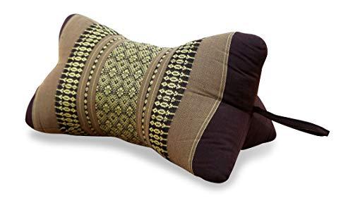 Livasia Nackenkissen, Ergonomisch geformtes Nackenstützkissen (Knochenkissen) aus Kapok, asiatische Nackenrolle als Nackenhörnchen oder Nackenkissen (braun)