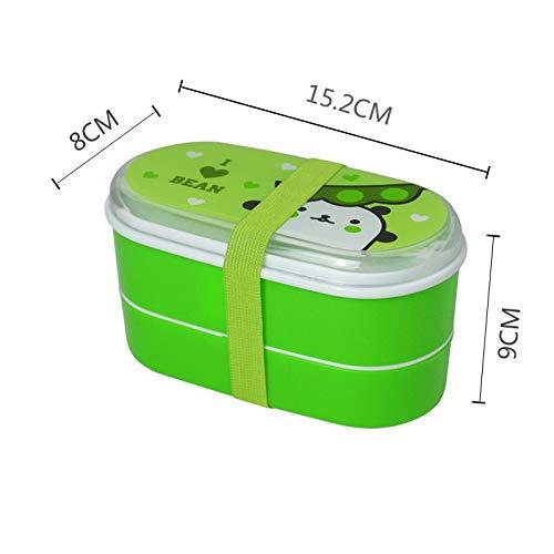 NYNLAGG De Dibujos Animados de Plástico Saludable Lonchera 600 ml Cajas Bento Contenedor de Alimentos Vajilla Lunchbox Cubiertos