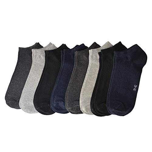 OCERA 8 Paar Sneaker Socken für Herren im Farbenmix mit Schwarz, Grau, Weiß, Dunkelblau Gr. 39/42