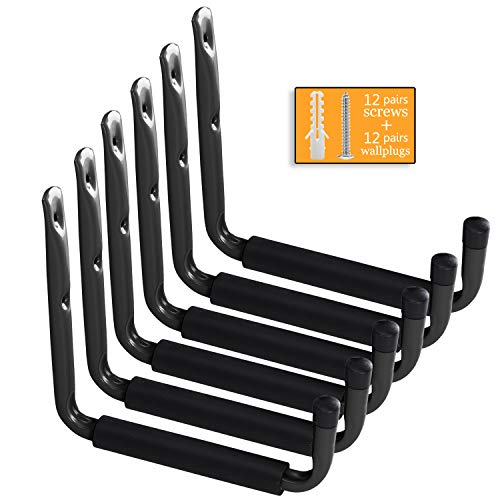 Garage Ladder Storage Hooks 9.4 Inch, Heavy Duty Large Tool Hanger Wall Mounted Giant Utility Hose Holder Organizer for Bike, Canoe, Folding Chairs and Bulky Items(6 Pack, Black)