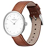 Nordgreen Infinity Bundle Scandinavian Silver Women's Analogue 32mm (Small) Watch with 3 Straps Brown Leather, Black Leather & Silver Mesh Straps 13051