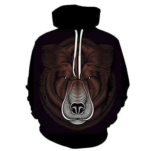 XDJSD Suéter para Hombre Suéter con Capucha para Hombre Sudadera Pullover Suéter con Estampado de Animales feroces de Manga Larga Camiseta Chaqueta Informal para Hombre