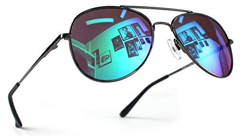 Miobo Hochwertige Pilotenbrille Fliegerbrille Pornobrille Sonnenbrille verspiegelt UV400 CAT 3 CE (Damen und Herren, Schwarz Karibikblau)