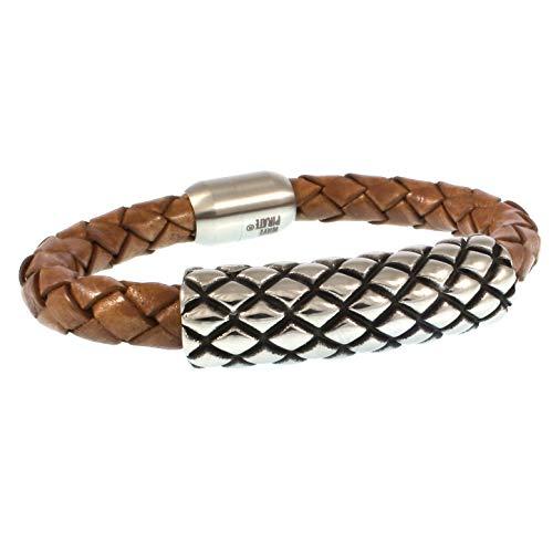 WAVEPIRATE® Echt Leder-Armband MAX Cognac 19 cm Edelstahl-Verschluss in Geschenk-Box Surfer Herren