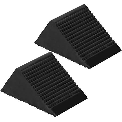 Calzos para llantas, Negro 12.5x7.5x6CM Calzos para ruedas sólidas, Caucho para remolques de automóviles