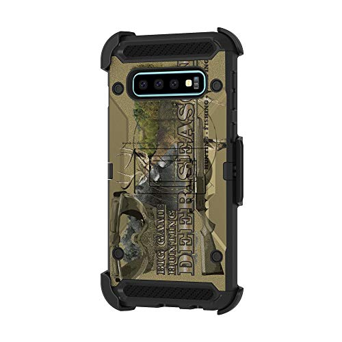 TurtleArmor | Compatible with Samsung Galaxy S10+ Case | S10 Plus Case | G975 [Armor Pro] Full Body Armor Hybrid Kickstand Holster Belt Clip Case Girls - Deer Hunting Season