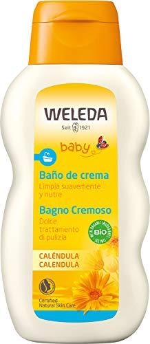Weleda Baby Calendula Crèmebad, voedende natuurlijke cosmetica reiniging voor droge en gevoelige babyhuid, verzorgend bad zonder oppervlakteactieve stoffen voor baby's en peuters (1 x 200 ml)