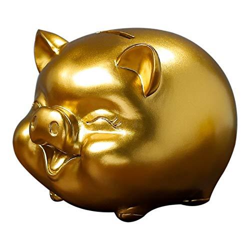 Totots Decoración de Escritorio de Oro de Oro, Dibujos Animados de Oro Lindo Hucha, decoración de la artesanía de Resina, Regalo de Cerdo Decoración de Escritorio para el hogar, Regalo