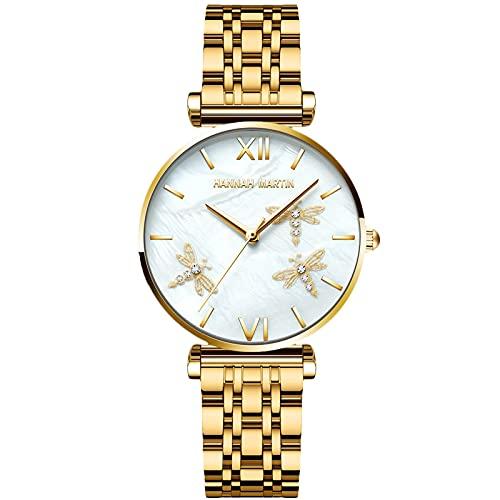 RORIOS Moda Mujer Relojes Cuarzo Reloj con Correa en Acero Inoxidable Negocio Relojes de Pulsera Casual Reloj de Pulsera para Mujeres Chica