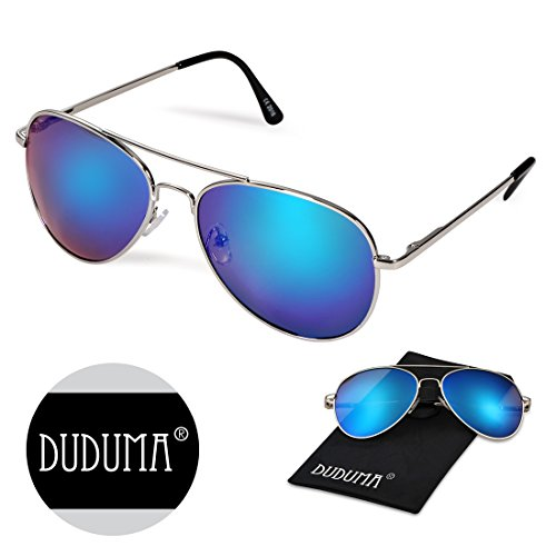 Duduma Premium Classic Aviator Sunglasses with Metal Frame Uv400 Protection (Frame silver7802, Blue mirror lens)