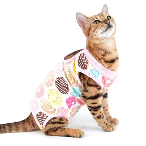 SELMAI Traje de Recuperación Quirúrgica para Gato y Perros de Mascota Camiseta de Médico para Cirugía Conos E Alternativos para Enfermedades De La Piel Heridas Anti Lamiendo, Rosado M